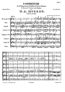 Two Contredanses, K.603: Two Contredanses by Wolfgang Amadeus Mozart