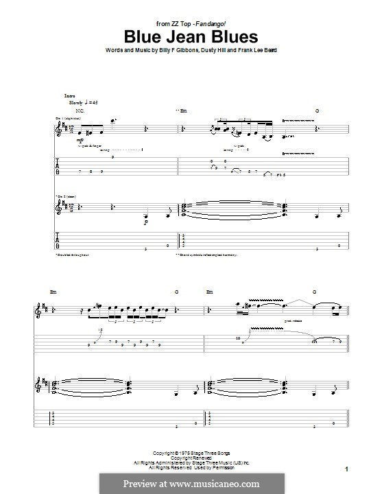 Blue Jean Blues (ZZ Top): For guitar with tab by Billy F Gibbons, Dusty Hill, Frank Lee Beard