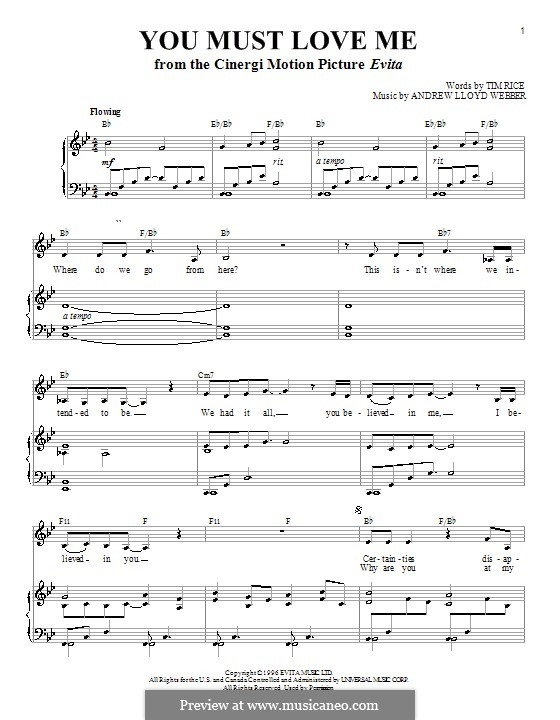 You Must Love Me: For voice and piano (or guitar) by Andrew Lloyd Webber