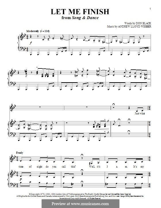 Let Me Finish: For voice and piano (or guitar) by Andrew Lloyd Webber