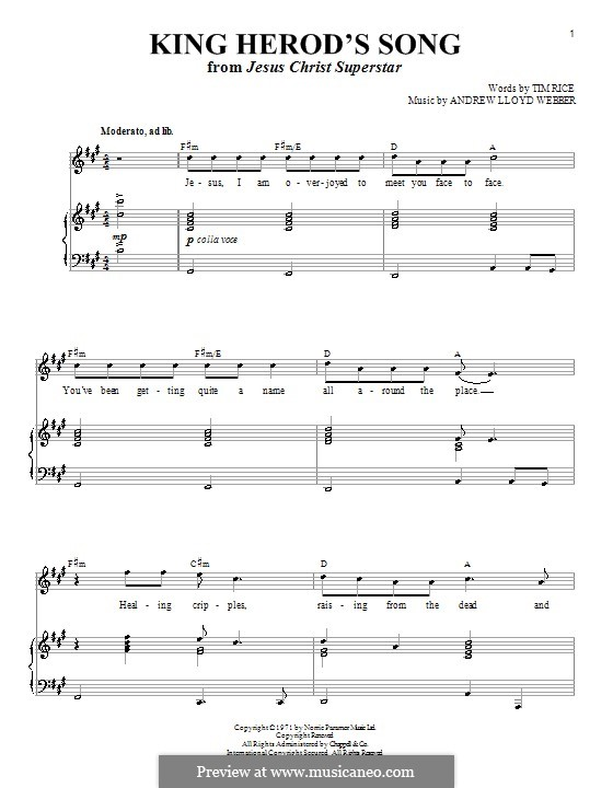 King Herod's Song: For voice and piano (or guitar) by Andrew Lloyd Webber