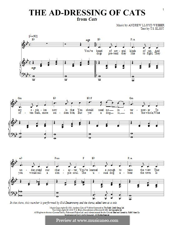 The Ad-Dressing of Cats: For voice and piano (or guitar) by Andrew Lloyd Webber