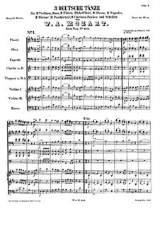 Three German Dances, K.605: Complete set by Wolfgang Amadeus Mozart