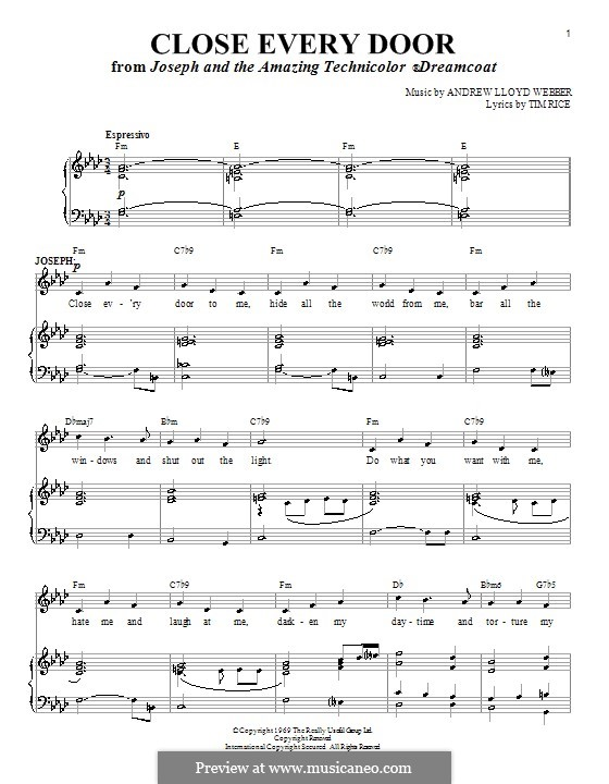 Close Every Door: For voice and piano (or guitar) by Andrew Lloyd Webber