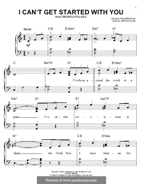 I Can't Get Started with You: For easy piano by Vernon Duke