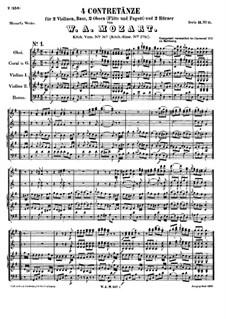 Four Contredanses, K.267: Four Contredanses by Wolfgang Amadeus Mozart
