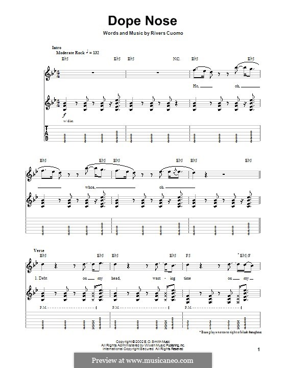 Dope Nose (Weezer): For guitar with tab by Rivers Cuomo