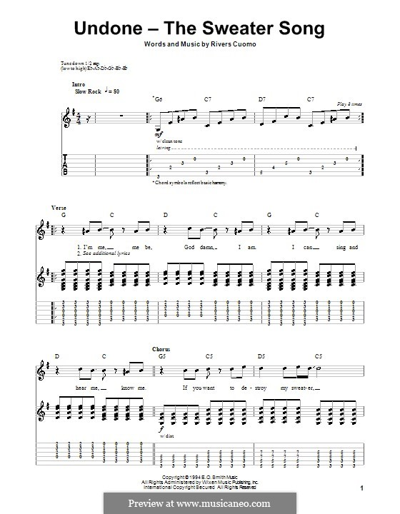 Undone - The Sweater Song (Weezer): For guitar with tab by Rivers Cuomo