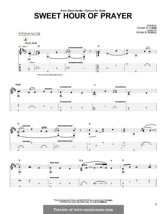 Sweet Hour of Prayer: For guitar by William Batchelder Bradbury