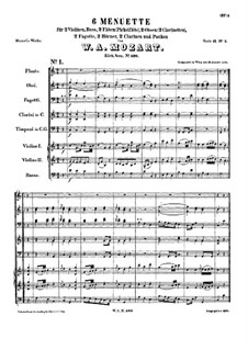 Six Minuets for Orchestra, K.599: Six Minuets for Orchestra by Wolfgang Amadeus Mozart