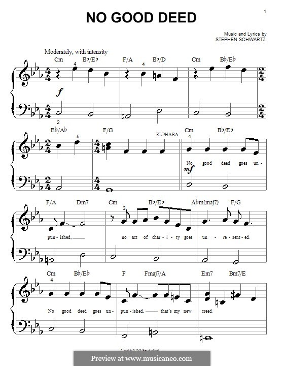 wicked no good deed sheet music free