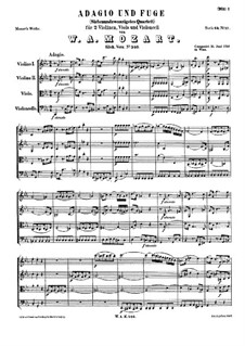 Adagio and Fugue for Strings: Full score by Wolfgang Amadeus Mozart