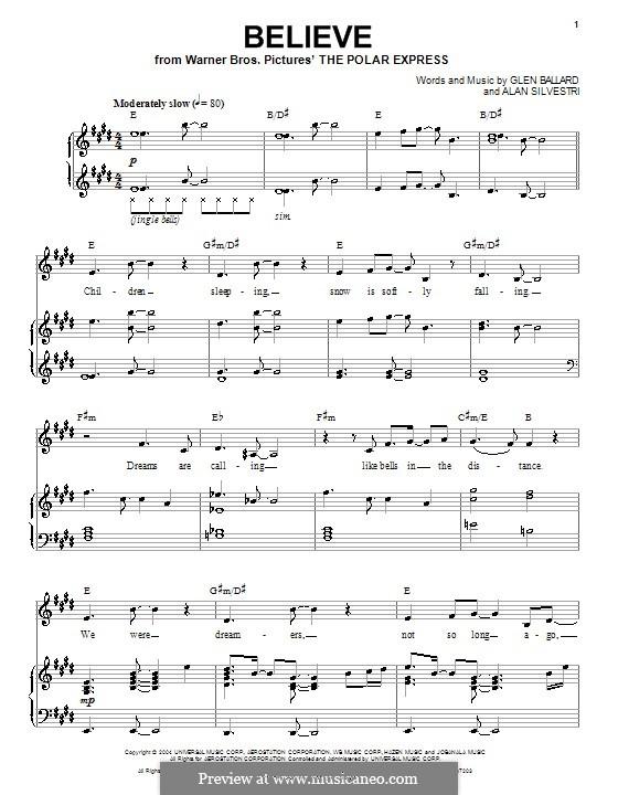 Believe (Josh Groban): For voice and piano (or guitar) by Alan Silvestri, Glen Ballard