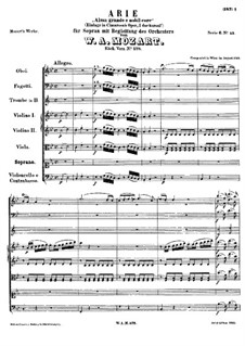 Alma Grande e Nobil Core, K.578: For solo and chamber orchestra by Wolfgang Amadeus Mozart
