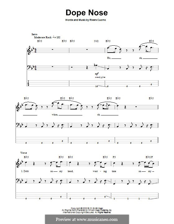 Dope Nose (Weezer): For bass guitar with tab by Rivers Cuomo