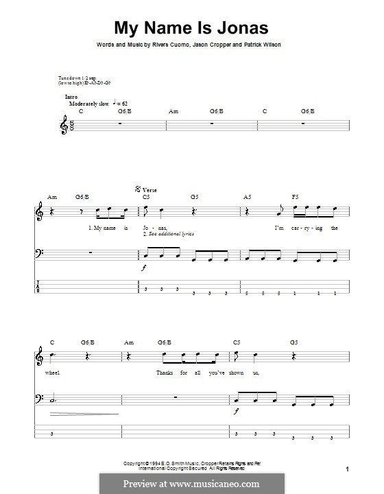 My Name Is Jonas (Weezer): For bass guitar with tab by Jason Cropper, Patrick Wilson, Rivers Cuomo