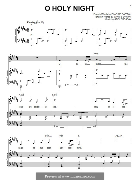 O Holy Night (Printable Scores): For voice and piano (or guitar) H Dur by Adolphe Adam