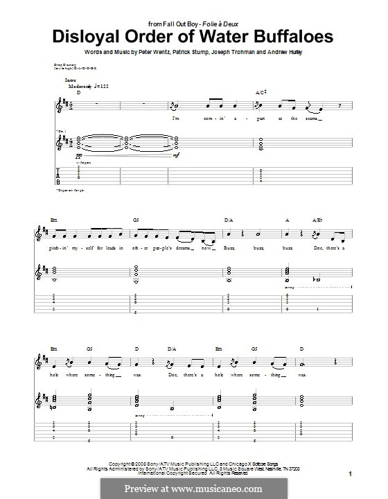 Disloyal Order of Water Buffaloes (Fall Out Boy): For guitar with tab by Andrew Hurley, Joseph Trohman, Patrick Stump, Peter Wentz