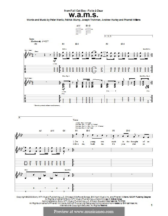 W.A.M.S. (Fall Out Boy): For guitar with tab by Andrew Hurley, Joseph Trohman, Patrick Stump, Peter Wentz, Pharrell Williams