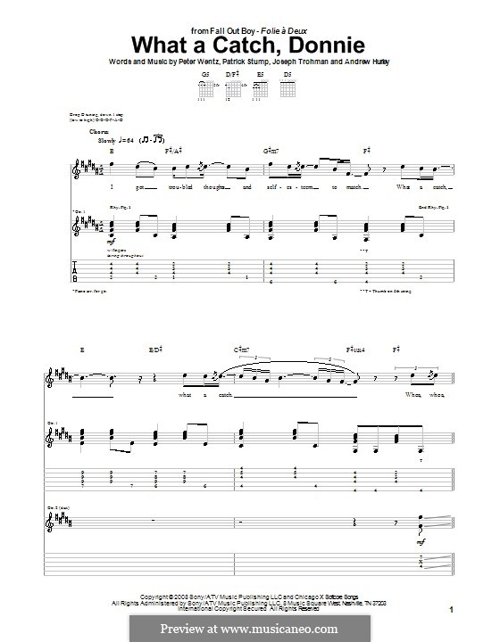 What a Catch, Donnie (Fall Out Boy): For guitar with tab by Andrew Hurley, Joseph Trohman, Patrick Stump, Peter Wentz