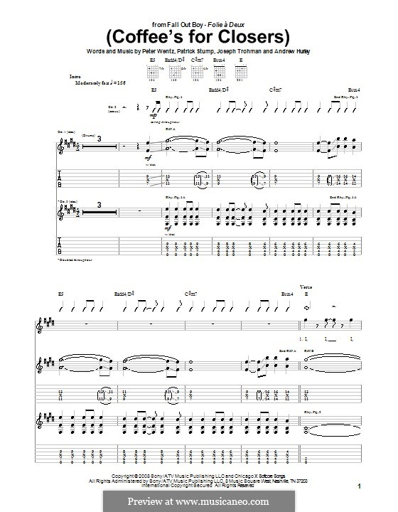 Coffee's for Closers (Fall Out Boy): For guitar with tab by Andrew Hurley, Joseph Trohman, Patrick Stump, Peter Wentz