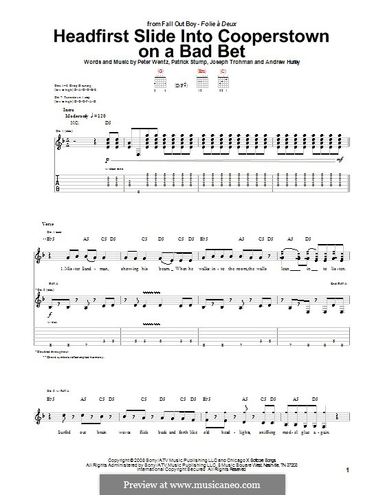 Headfirst Slide Into Cooperstown on a Bad Bet (Fall Out Boy): For guitar with tab by Andrew Hurley, Joseph Trohman, Patrick Stump, Peter Wentz