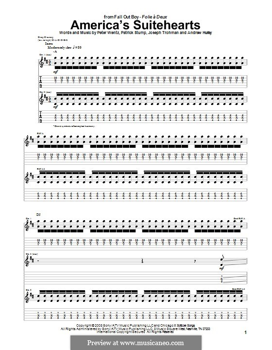America's Suitehearts (Fall Out Boy): For guitar with tab by Andrew Hurley, Joseph Trohman, Patrick Stump, Peter Wentz