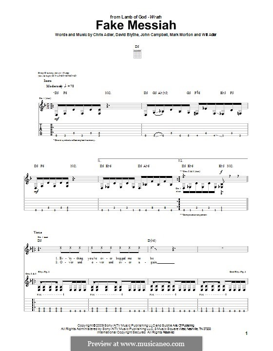 Fake Messiah (Lamb of God): For guitar with tab by Chris Adler, David Blythe, John Campbell, Mark Morton, Will Adler