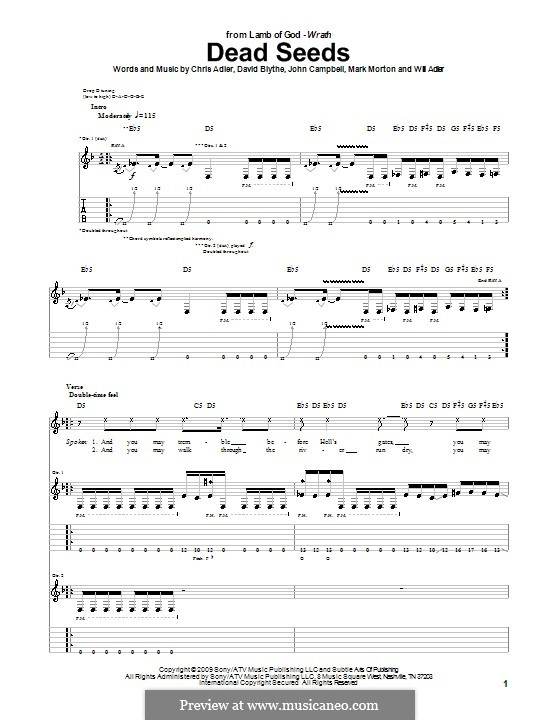 Dead Seeds (Lamb of God): For guitar with tab by Chris Adler, David Blythe, John Campbell, Mark Morton, Will Adler