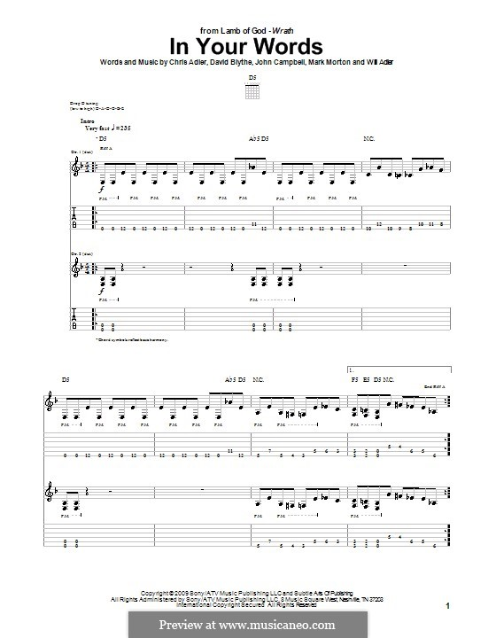 In Your Words (Lamb of God): For guitar with tab by Chris Adler, David Blythe, John Campbell, Mark Morton, Will Adler