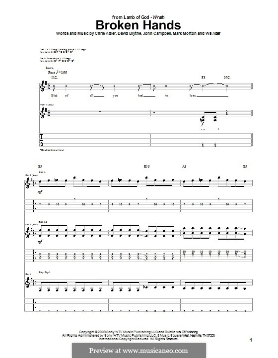 Broken Hands (Lamb of God): For guitar with tab by Chris Adler, David Blythe, John Campbell, Mark Morton, Will Adler