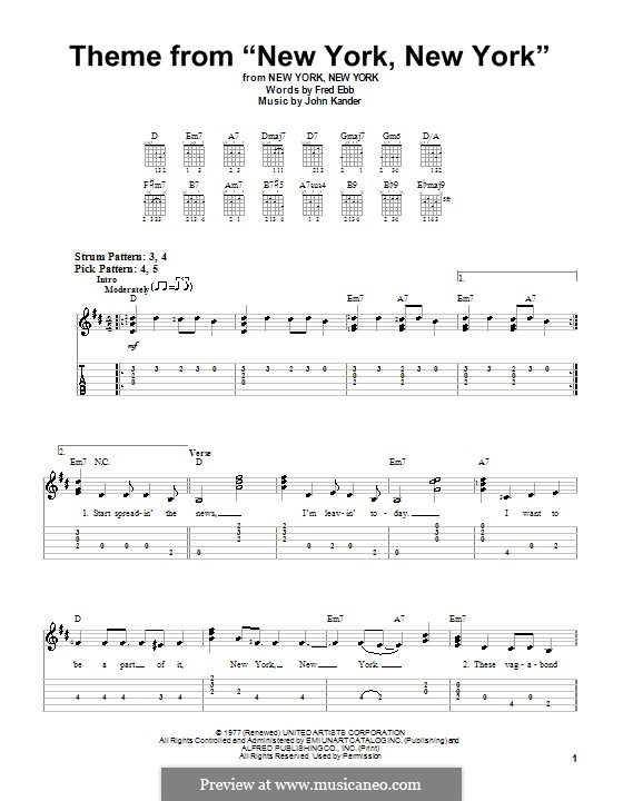 New York, New York (Frank Sinatra): For guitar (very easy version) by John Kander