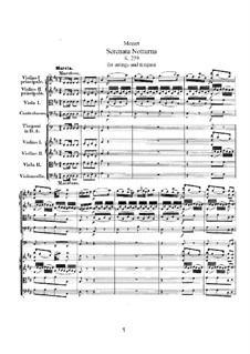 Serenade for Strings and Timpani No.6 in D Major 'Serenata Notturna', K.239: Serenade for Strings and Timpani No.6 in D Major 'Serenata Notturna' by Wolfgang Amadeus Mozart