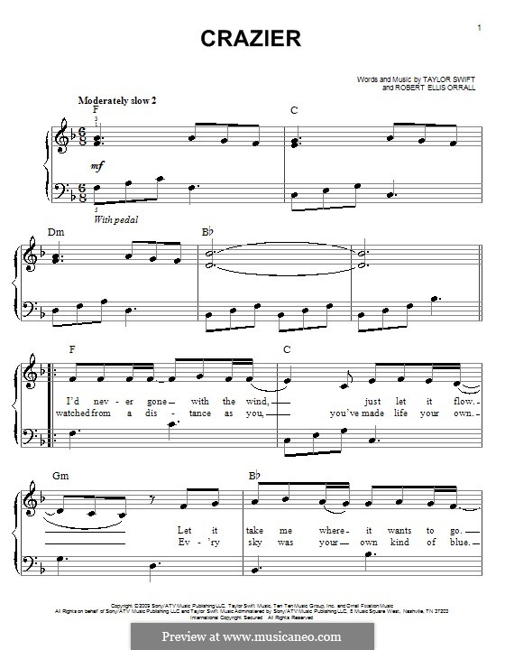 Crazier Taylor Swift For Easy Piano By Robert Ellis Orrall Interactive Music Score: Print Out Sheet Music Violin Solo Taylor Swift At Alzheimers-prions.com
