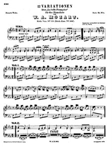 Twelve Variations on 'La Belle Françoise', K.353: For piano by Wolfgang Amadeus Mozart