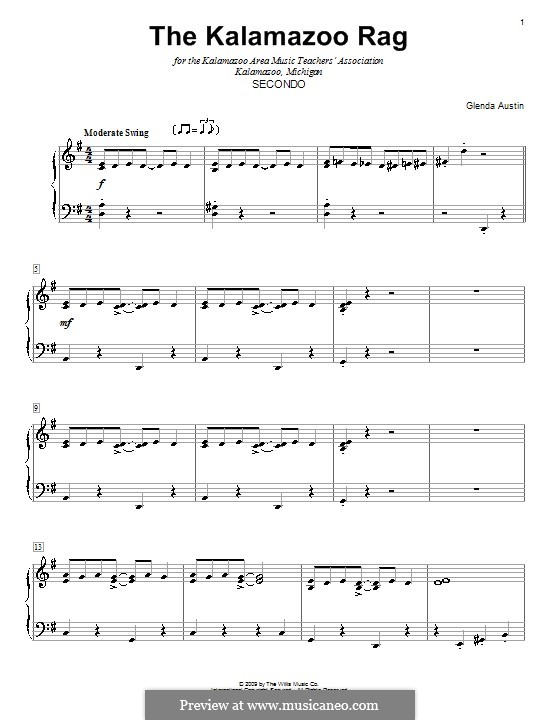The Kalamazoo Rag: For piano four hands by Glenda Austin