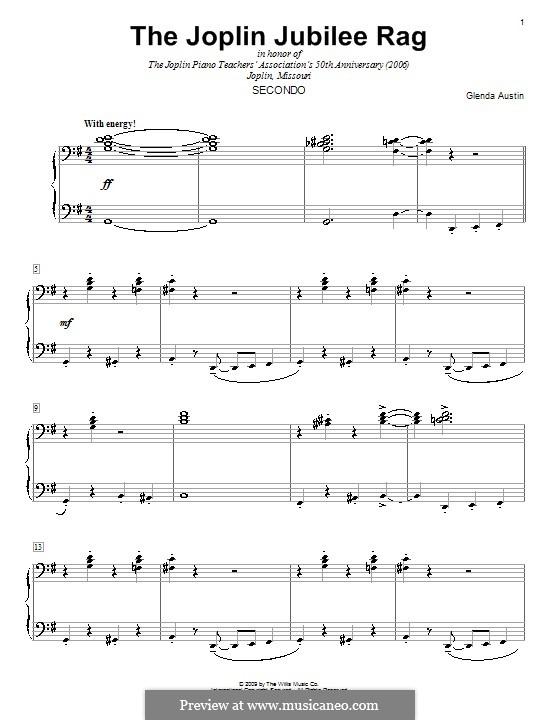 The Joplin Jubilee Rag: For piano four hands by Glenda Austin