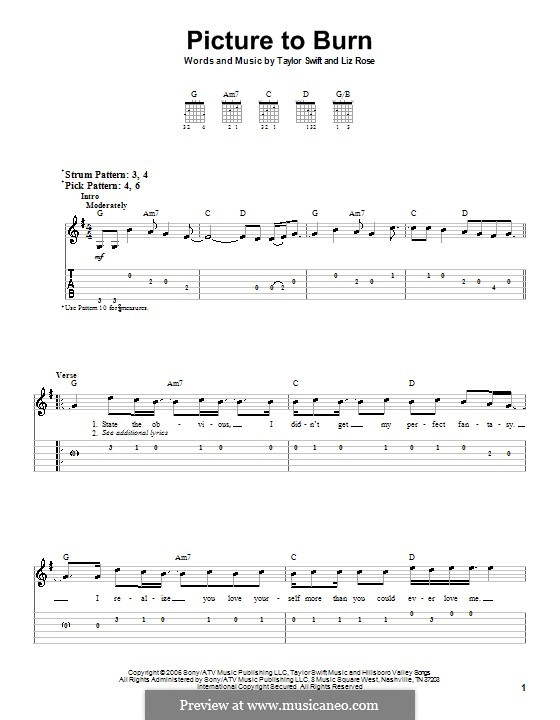 Picture to Burn (Taylor Swift): For guitar (very easy version) by Liz Rose