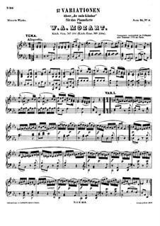 Twelve Variations on 'Je suis Lindor', K.354: For piano by Wolfgang Amadeus Mozart