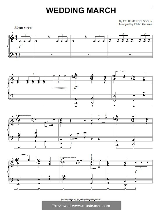 Wedding March: Printable sheet music for piano by Felix Mendelssohn-Bartholdy