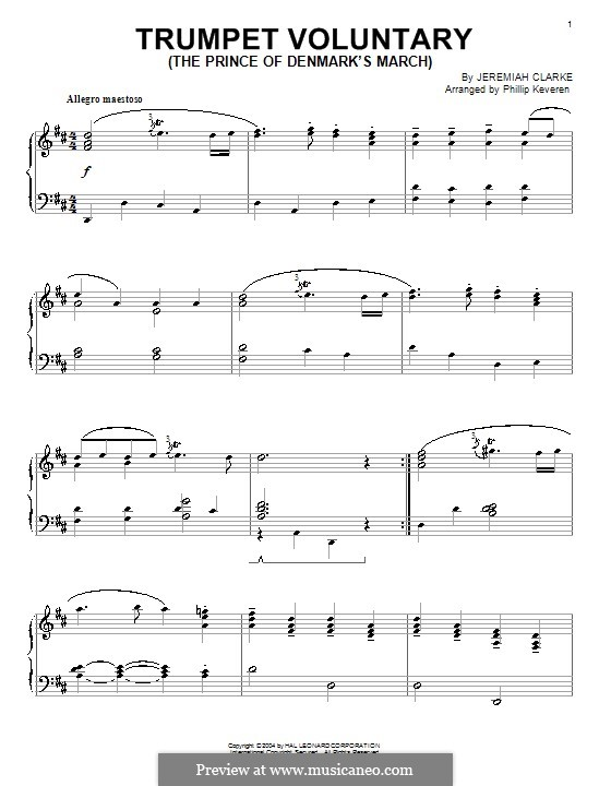 Prince of Denmark's March: For piano by Jeremiah Clarke