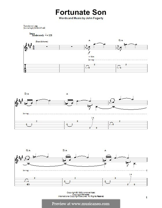 Fortunate Son (Creedence Clearwater Revival): For guitar with tab by John C. Fogerty
