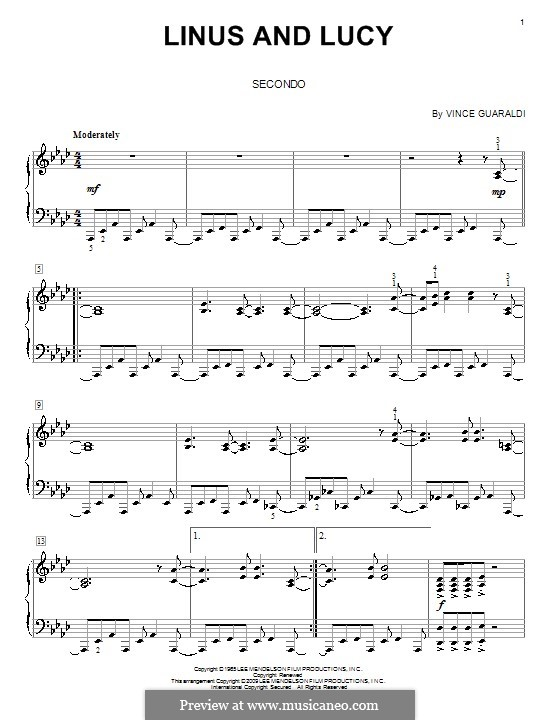 Linus and Lucy (from A Boy Named Charlie Brown): For piano four hands by Vince Guaraldi