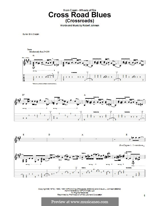 Cross Road Blues (Crossroads): For guitar with tablature (A Major) by Robert Leroy Johnson