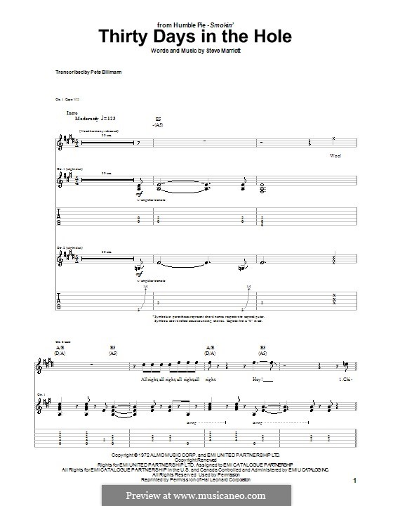 Thirty Days in the Hole (Humble Pie): For guitar with tabulature by Steve Marriott