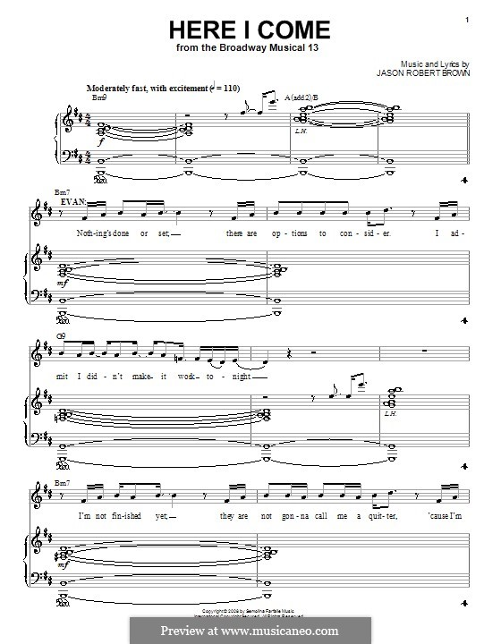 Here I Come: For voice and piano (or guitar) by Jason Robert Brown