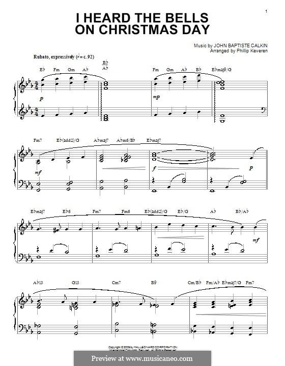 I Heard the Bells on Christmas Day: For piano by John Baptiste Calkin