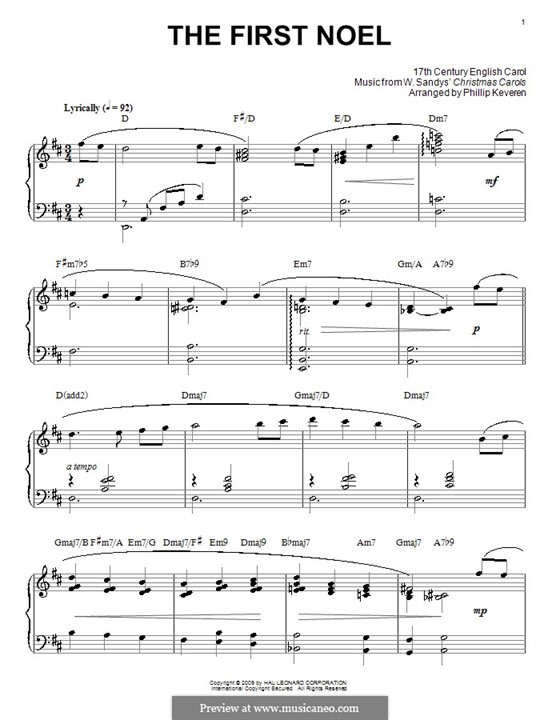 The First Nowell (The First Noël), for Piano: Version by Keveren by folklore
