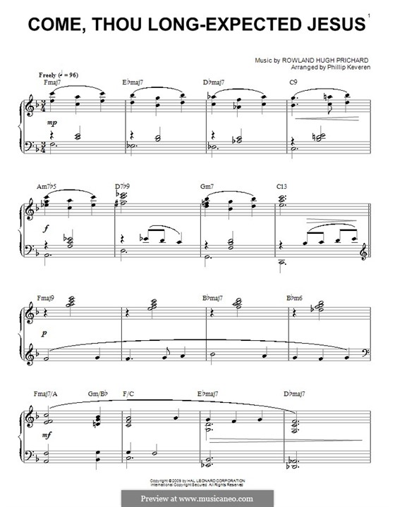 Come, Thou Long-Expected Jesus: For piano (with chords) by Rowland Huw Prichard
