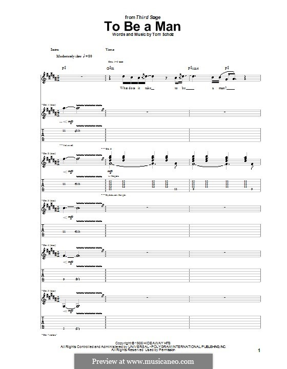 To Be a Man (Boston): For guitar with tab by Tom Scholz